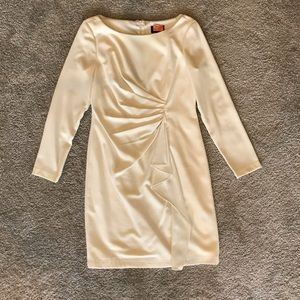 Adrianna Papell winter white long sleeve dress